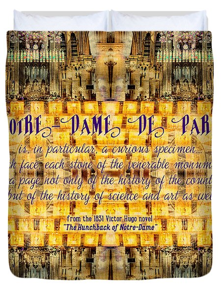 Notre-dame Cathedral Rose Stained Glass Candles Novel Quote Duvet Cover