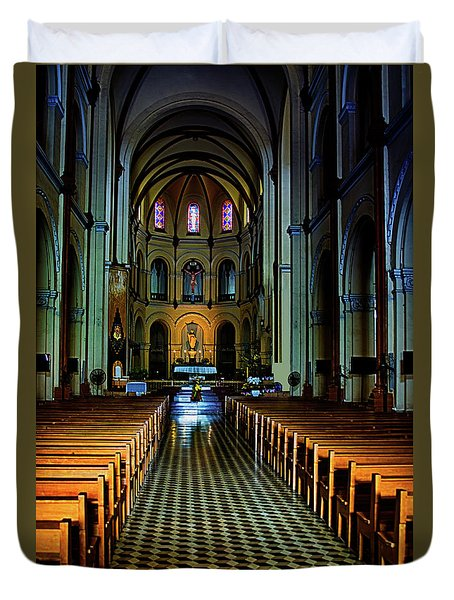 Duvet Cover featuring the photograph Notre Dame Cathedral Saigon by Joseph Hollingsworth