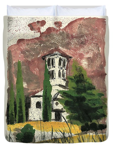 Duvet Cover featuring the painting Notre Dame D'aubune by Martin Stankewitz
