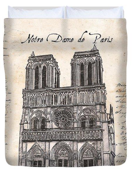 Notre Dame De Paris Duvet Cover by Debbie DeWitt