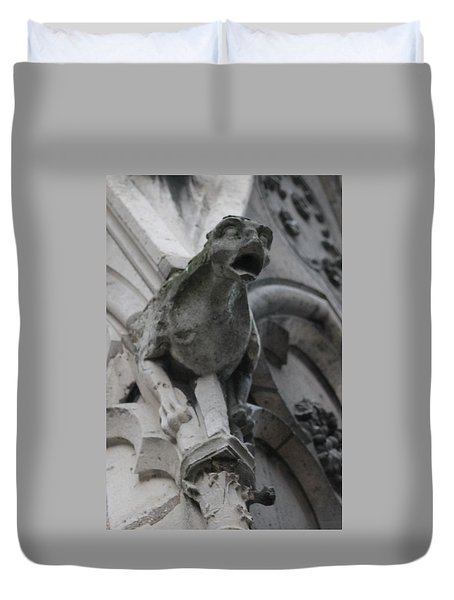 Duvet Cover featuring the photograph Notre Dame Gargoyle Grotesque by Christopher Kirby