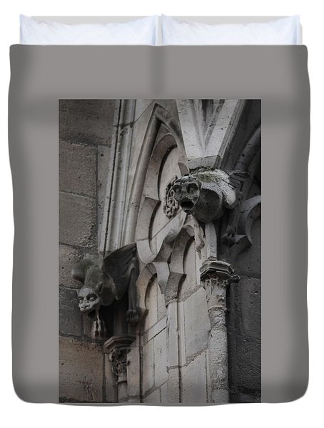 Duvet Cover featuring the photograph Notre Dame Grotesques by Christopher Kirby