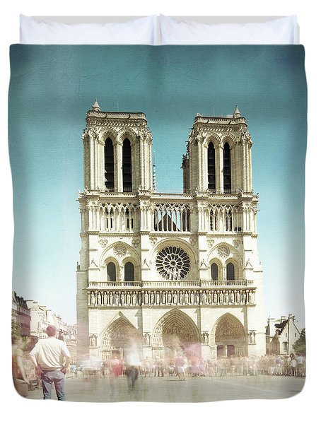 Duvet Cover featuring the photograph Notre Dame by Hannes Cmarits