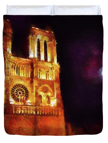 Notre Dame In The Autumn Moonlight Duvet Cover