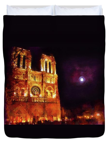 Duvet Cover featuring the painting Notre Dame In The Autumn Moonlight by Menega Sabidussi
