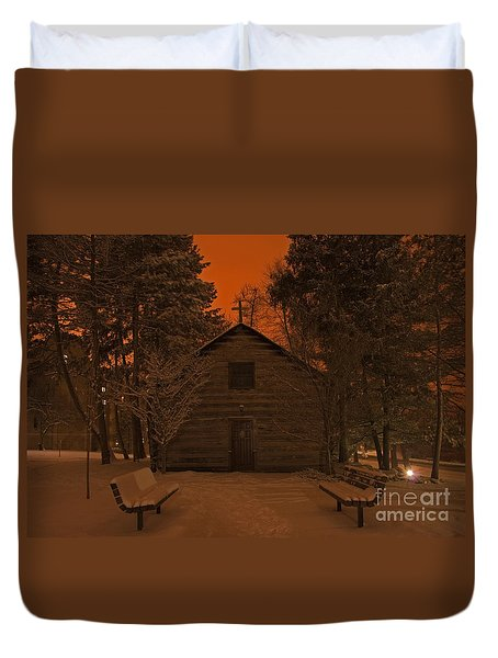 Notre Dame Log Chapel Winter Night Duvet Cover by John Stephens