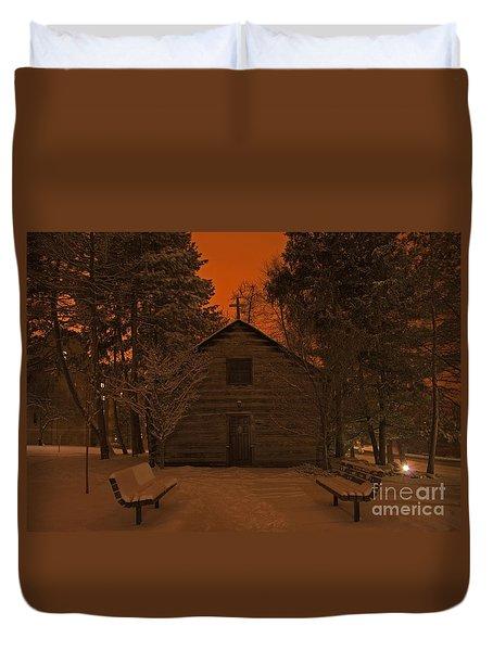 Notre Dame Log Chapel Winter Night Duvet Cover