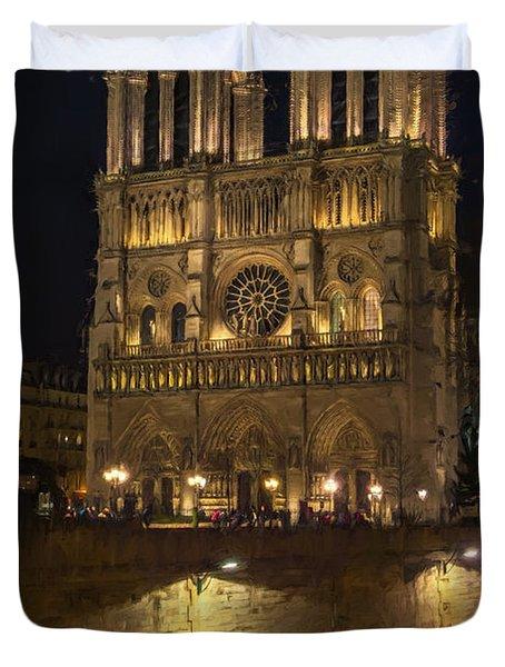 Notre Dame Night Painterly Duvet Cover