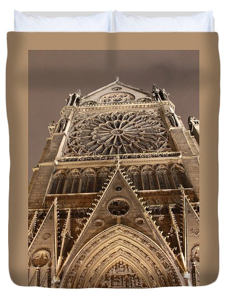 Duvet Cover featuring the photograph Notre Dame North by Christopher Kirby