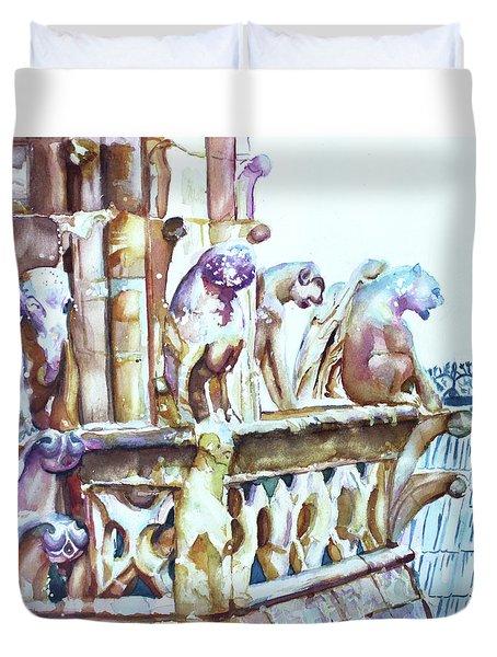 Notre-dame Sentinels Duvet Cover