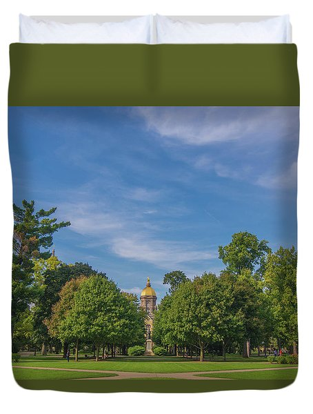 Duvet Cover featuring the photograph Notre Dame University 6 by David Haskett
