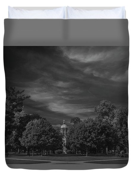 Duvet Cover featuring the photograph Notre Dame University 6a by David Haskett