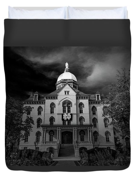 Duvet Cover featuring the photograph Notre Dame University Black White 3a by David Haskett
