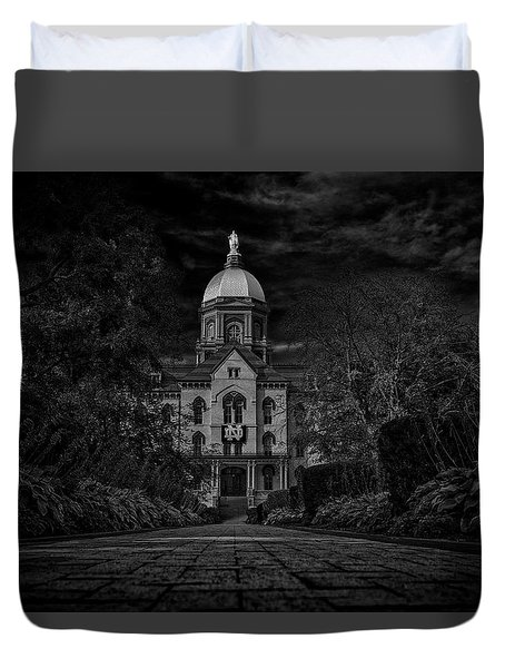 Duvet Cover featuring the photograph Notre Dame University Golden Dome Bw by David Haskett