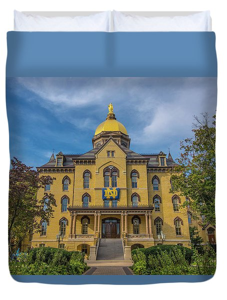 Duvet Cover featuring the photograph Notre Dame University Golden Dome by David Haskett