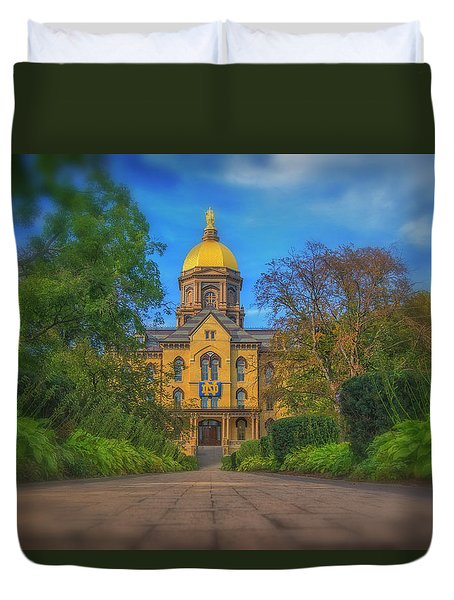 Duvet Cover featuring the photograph Notre Dame University Q2 by David Haskett