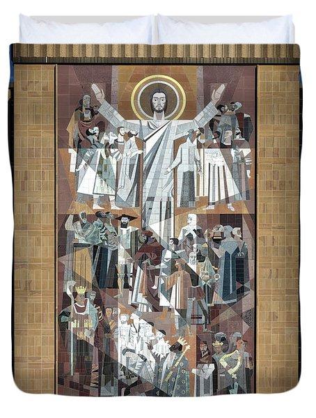 Notre Dame's Touchdown Jesus Duvet Cover by Mountain Dreams