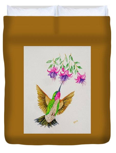 Duvet Cover featuring the painting Nourishment  by Katherine Young-Beck