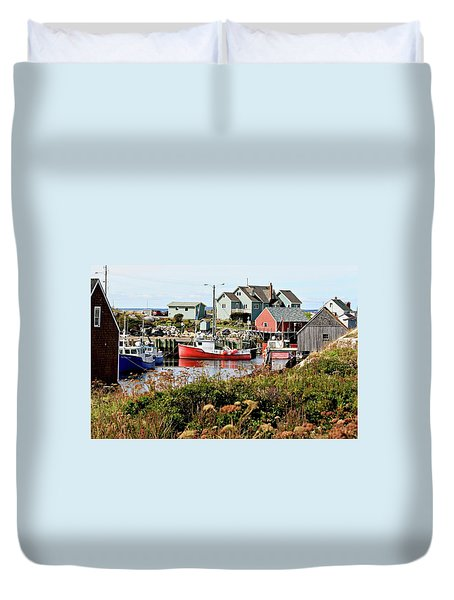 Duvet Cover featuring the photograph Nova Scotia Fishing Community by Jerry Battle