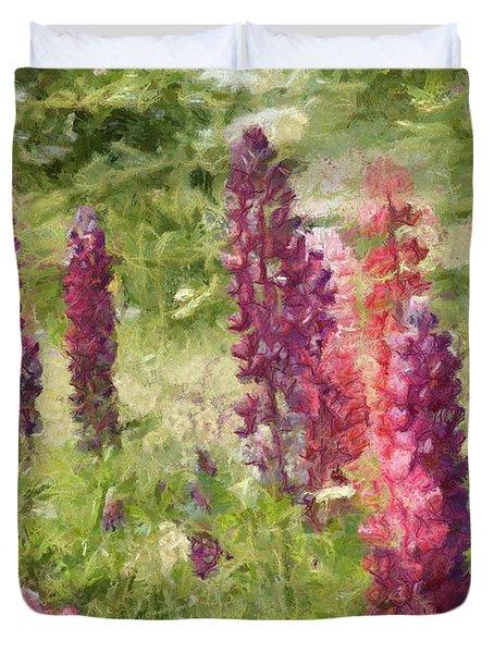 Nova Scotia Lupine Flowers Duvet Cover by Jeff Kolker
