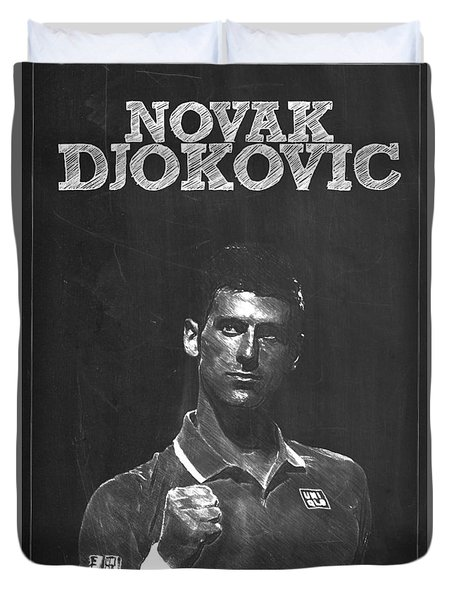 Novak Djokovic Duvet Cover by Semih Yurdabak