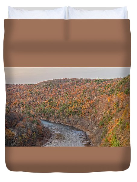November Golden Hour At Hawk's Nest Duvet Cover