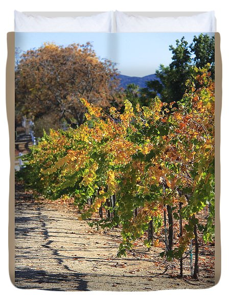 Duvet Cover featuring the photograph November In Wine Country by Suzanne Oesterling