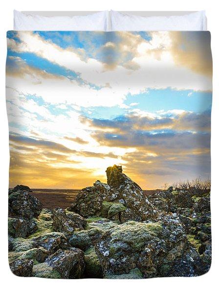 November Light Over Icelandic Lava Field Duvet Cover