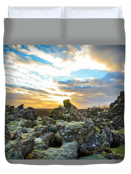 November Light Over Icelandic Lava Field Duvet Cover