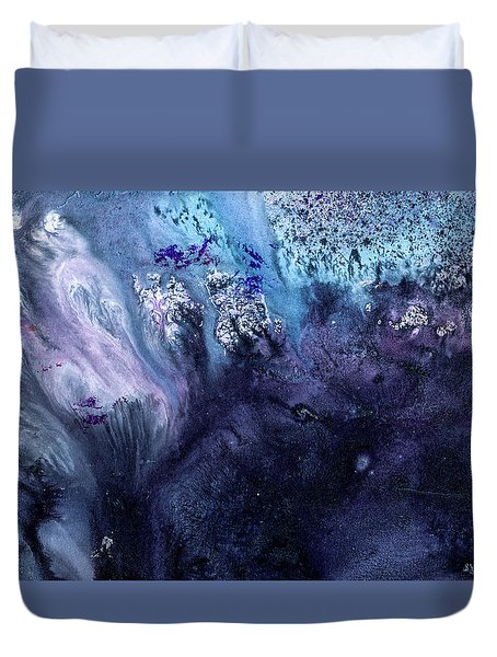 November Rain - Contemporary Blue Abstract Painting Duvet Cover