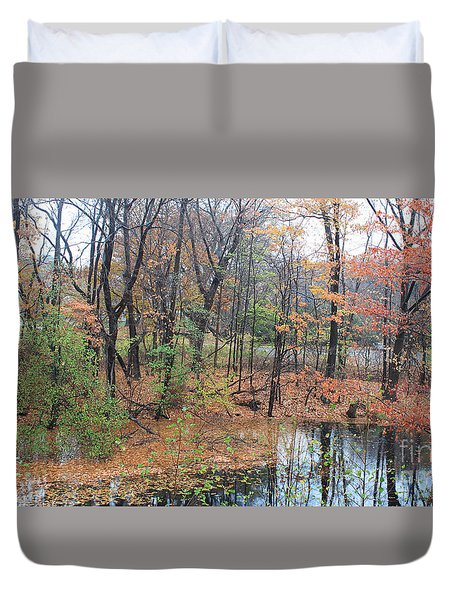 Duvet Cover featuring the painting November Rainy Day In Waltham  by Rita Brown