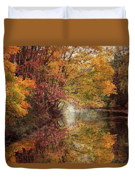 Duvet Cover featuring the photograph November Reflections by Jessica Jenney