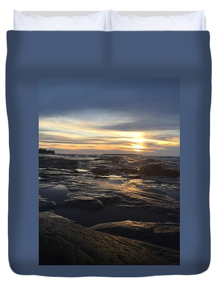 November Sunset On Lake Superior Duvet Cover
