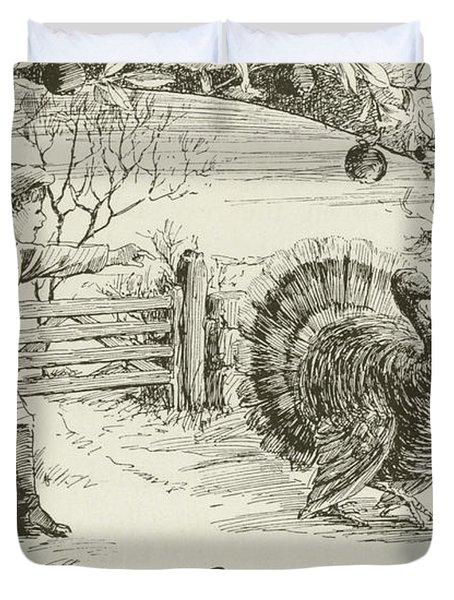 November   Vintage Thanksgiving Card Duvet Cover