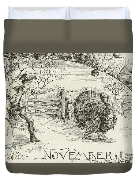 November   Vintage Thanksgiving Card Duvet Cover by American School