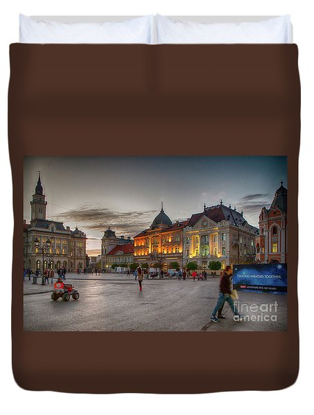 Novi Sad Liberty Square At Twilight Duvet Cover