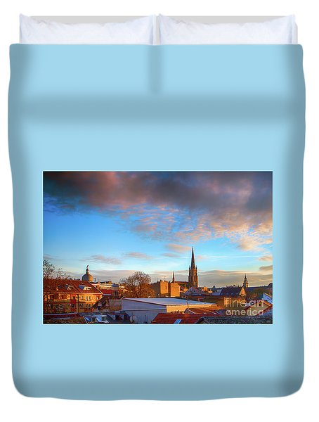 Novi Sad Roofs Lit By The Setting Sun Duvet Cover