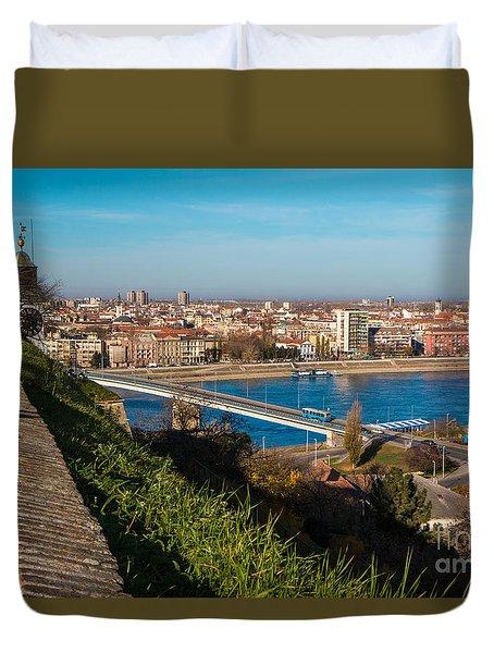 Duvet Cover featuring the photograph Novi Sad Vojvodina View From Petrovaradin Fortress by Jivko Nakev