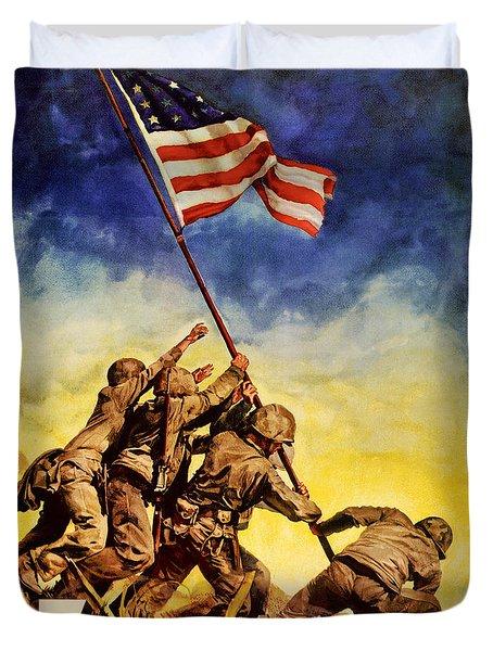 Now All Together Vintage War Poster Restored Duvet Cover