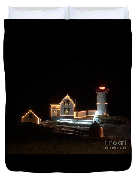 Nubble At Night Duvet Cover by Patrick Fennell