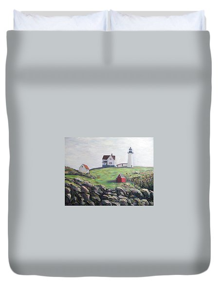 Nubble Light House Duvet Cover by Richard Nowak