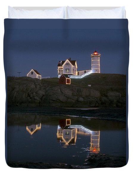 Nubble Light York Maine At Blue Hour Duvet Cover