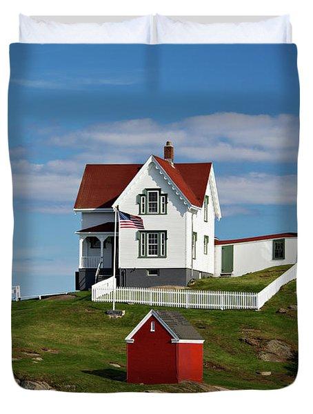 Nubble Lighthouse - D002365 Duvet Cover by Daniel Dempster