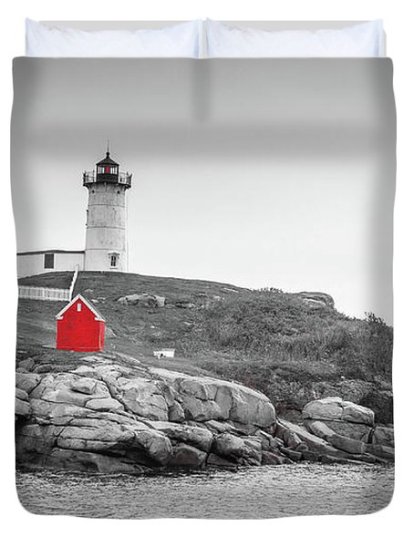 Nubble Lighthouse In Color And Black And White Duvet Cover