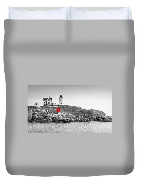 Duvet Cover featuring the photograph Nubble Lighthouse In Color And Black And White by Doug Camara