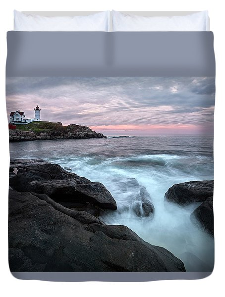 Nubble Lighthouse Of Maine Duvet Cover