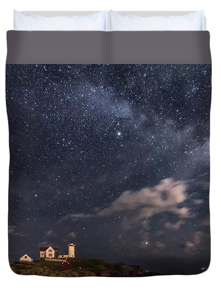 Nubble Lighthouse Under The Milky Way Duvet Cover