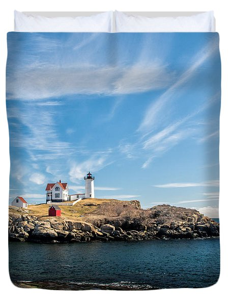 Nubble Lighthouse With Dramatic Clouds Duvet Cover