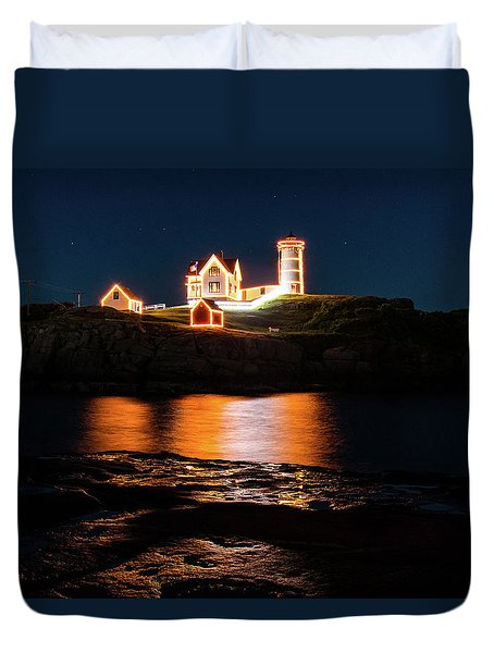 Duvet Cover featuring the photograph nubble Lighthouse, York Maine by Jeff Folger