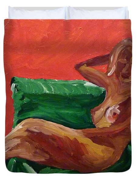Duvet Cover featuring the painting Nude And Green Chair by Joshua Redman